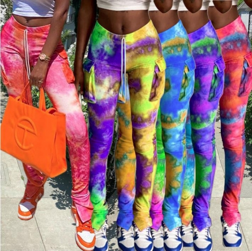 Charming Tie-dyed pocket slit flared sweatpants