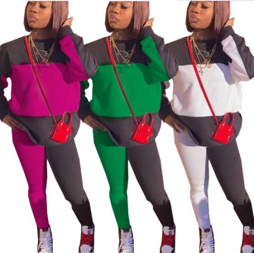 Charming Color block stitching sports suit