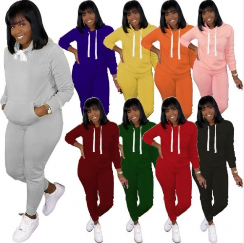 Charming Pure color hooded sports suit