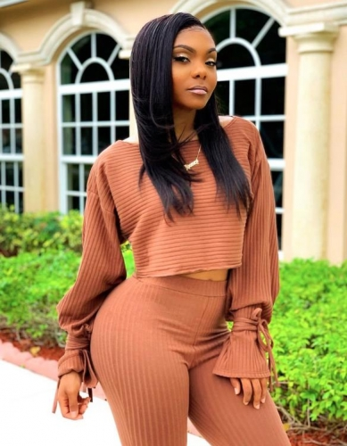 Charming  Long sleeve solid color pit strip two-piece suit