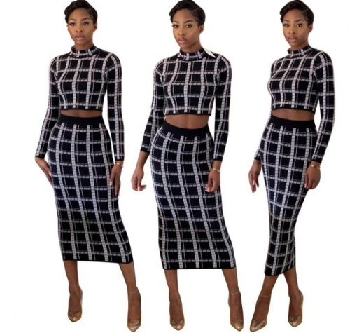 Charming Casual plaid printing two-piece suit