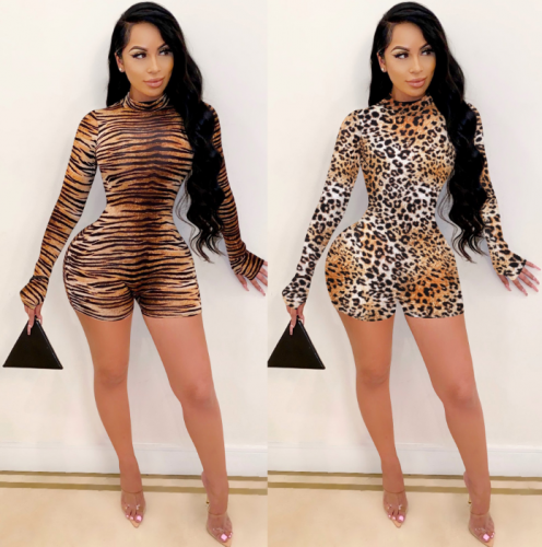 Charming Long sleeve leopard romper