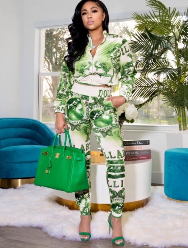 Charming Fashion printed green two-piece suit