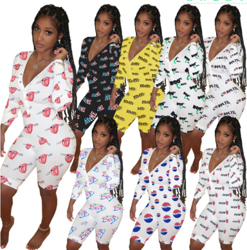 Charming V-neck home printing romper