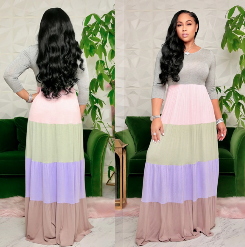 Charming Long sleeve color block stripe maxi dress