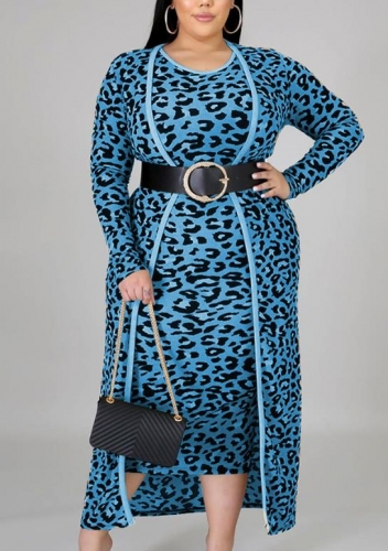 Charming Plus Size Casual leopard print long-sleeved jacket dress two-piece suit