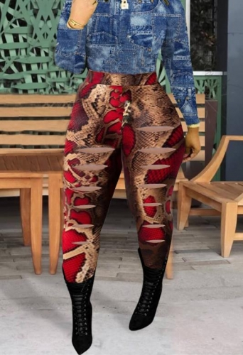 Charming Street ripped animal print red pants