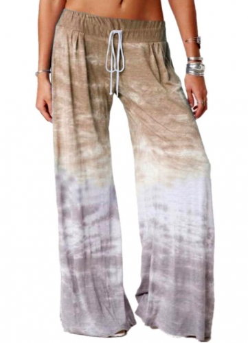 Charming Casual Loose Gradient Printed Yoga Wide Leg Sports Pants