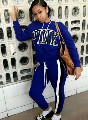 Charming Sports hooded letter printed two-piece pants suit