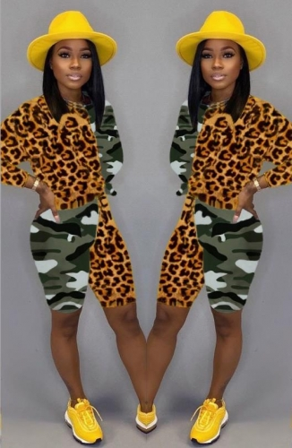 Charming Casual Leopard camouflage stitching two-piece shorts suit