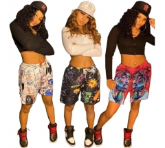 Charming  street hip-hop print two-piece shorts set