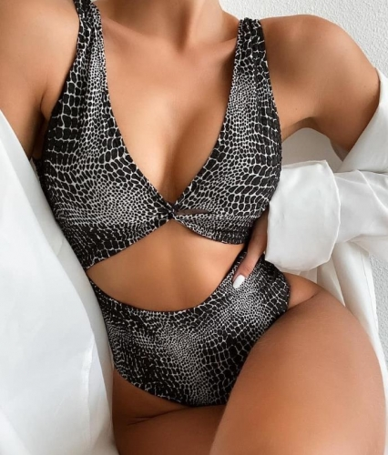 Charming Sexy snakeskin print one-piece swimsuit