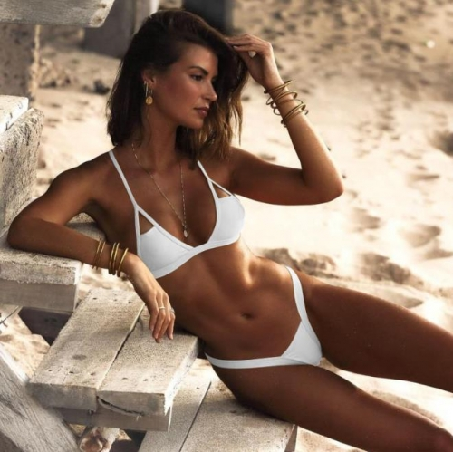 Charming Sexy solid color strapless tube top bikini set