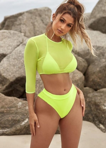 Charming Sexy high waist mesh swimsuit three-piece suit