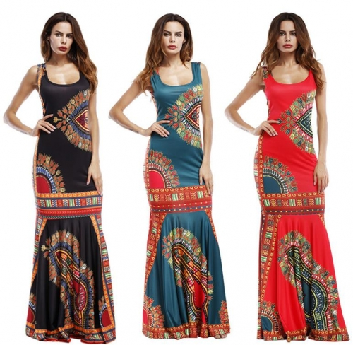 Charming Trendy U-Neck Printed Maxi Dress