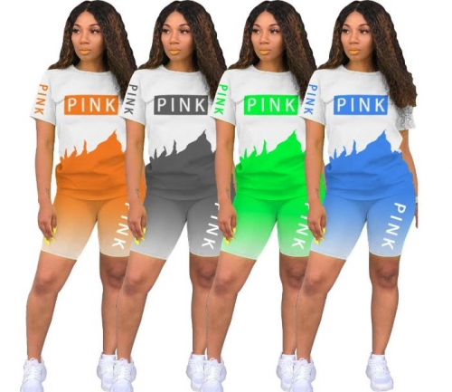 Charming Splicing letters Gradient two-piece shorts set