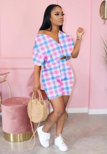 Charming Check print round neck zipper shorts set