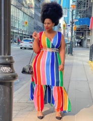 Charming plus size Color stripe print V-neck dress