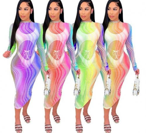 Charming Sexy tie-dye gradient see-through dress