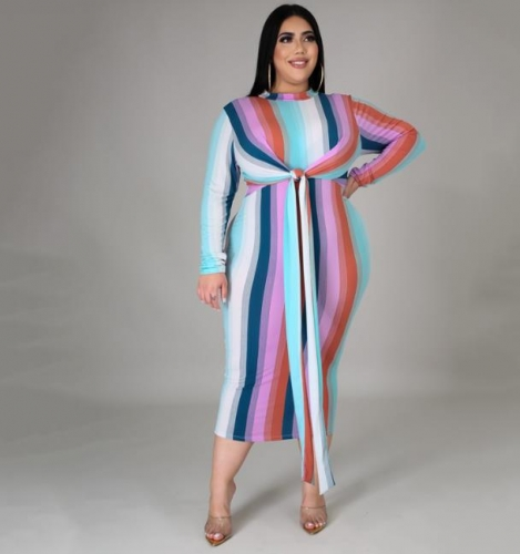 Charming Plus Size Lace-up Striped print dress