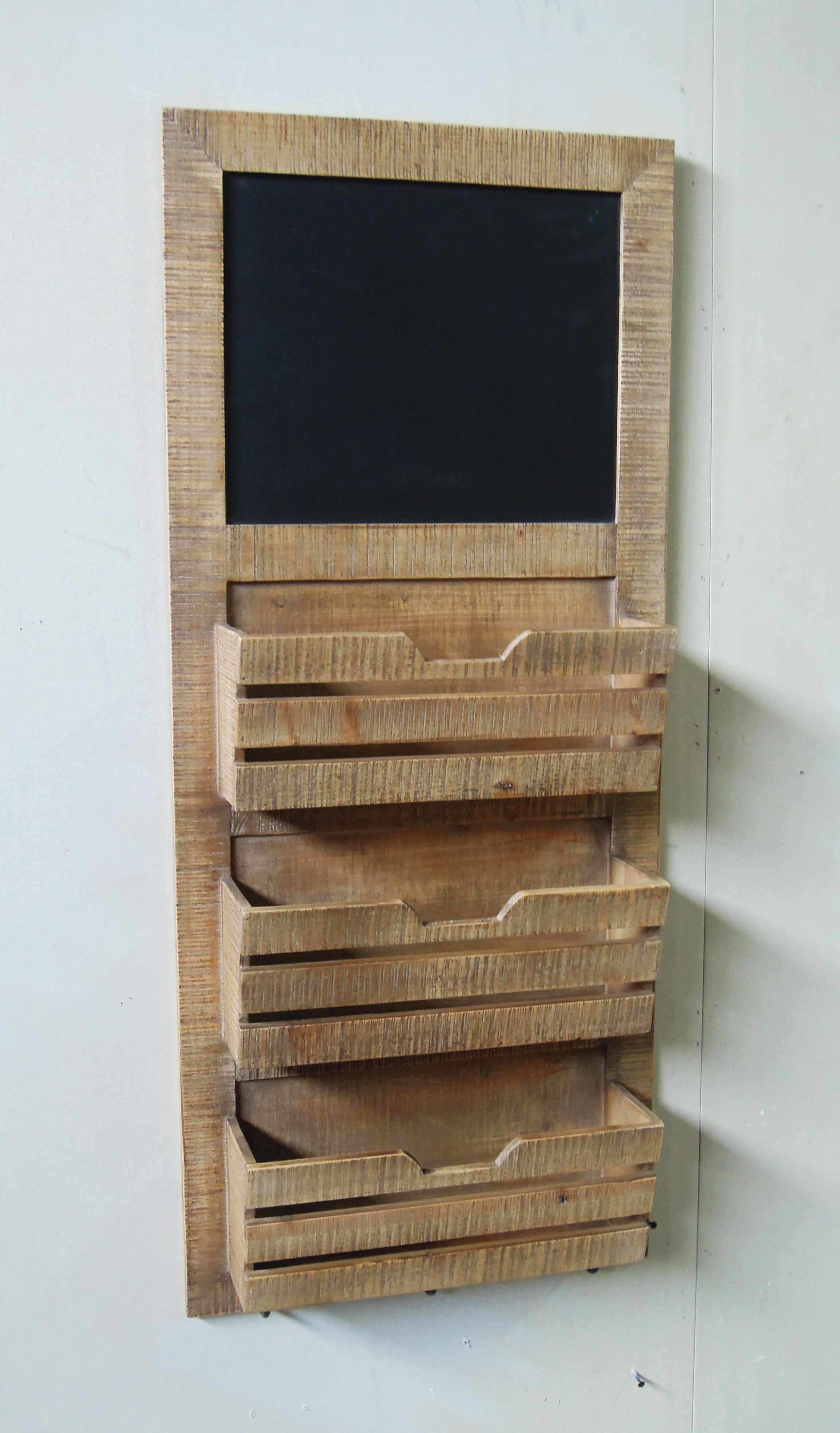 Finest Vintage 3-tier wooden wall shelf with chalkboard,Cabinet BX43