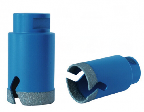 Vacuum brazed thin wall diamond core bits for tile