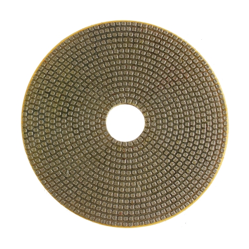 Electroplated flexible wet polishing pad