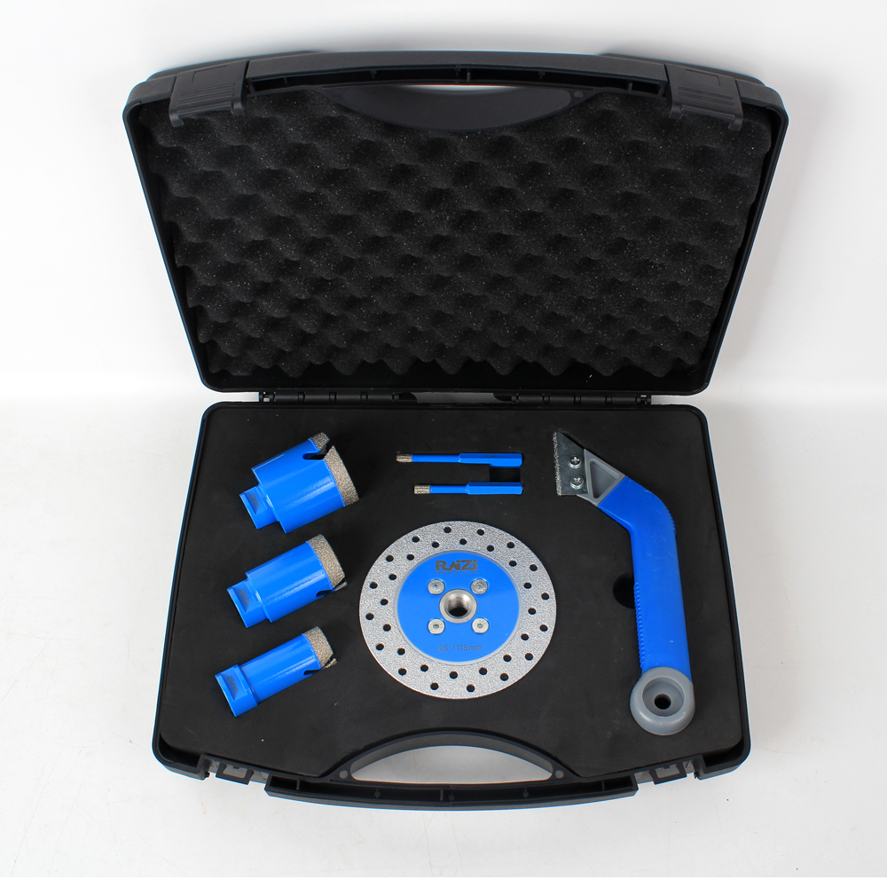 Tiling Installation Diamond Kit With Tile Grout Saw, Core Drill Bit, Cutting Grinding Disc