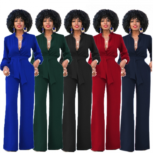 Euramerican Mandarin Collar Red Spandex One-piece jumpsuit long sleeve