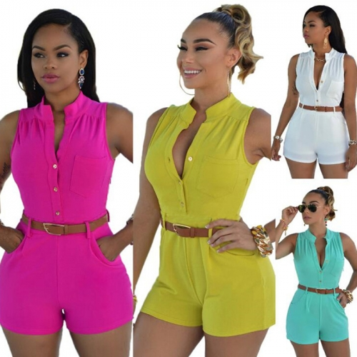 Women Summer Sleeveless Loose Fitting Casual Short Romper Jumpsuit with Belt