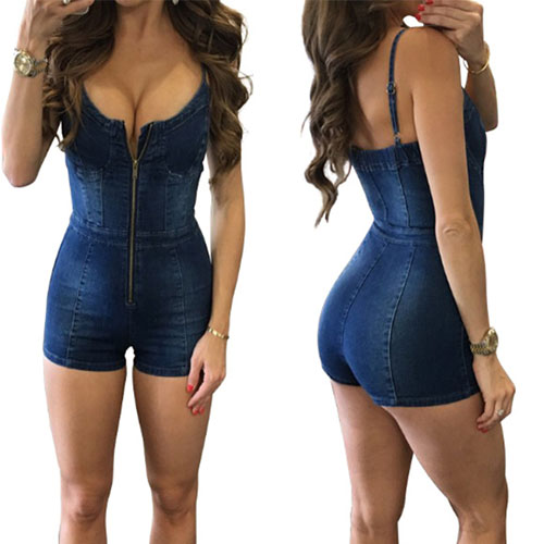 Trendy Spaghetti Strap Sleeveless Zipper Denim Jumpsuits