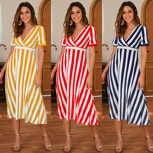 Sexy Women Short Sleeve Casual Vertical Long Dress