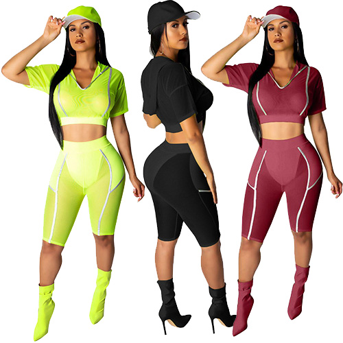 Yellow Black Red Women Sport Wear 2 Pcs Sets