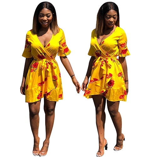 Yellow Deep V Neck Women Mini Dress