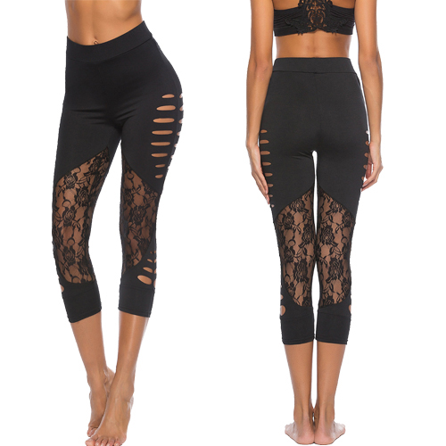 Women Sexy Lace Panel Ripped Leggings