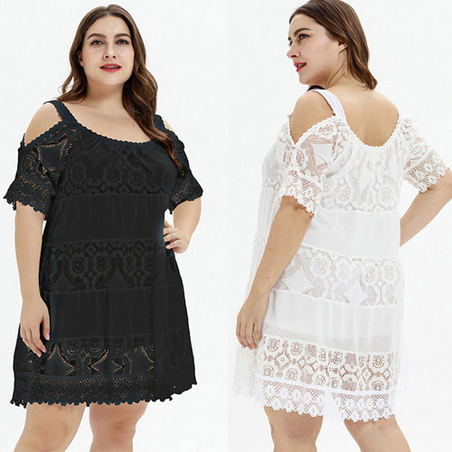 Bewitching White Black Lace Patcgwork Open Shoulder Large Size Mini Dress
