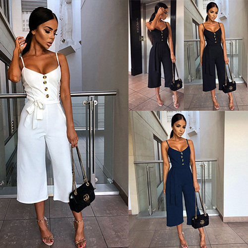 Sexy Jumpsuits Women Belt Wide Leg Pant