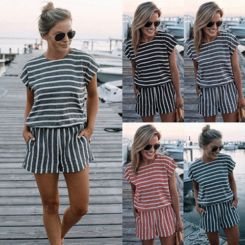 Women Striped Loose Rompers