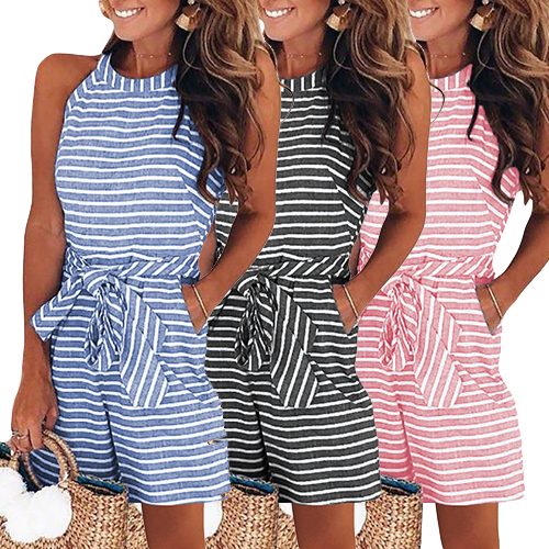 Women Sleeveless Striped Romper