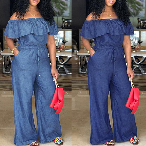 Denim Womens Off Shoulder Jumpsuit