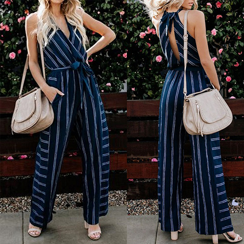 Blue Stripe V-neck Open Back Sleeveless Jumpsuit