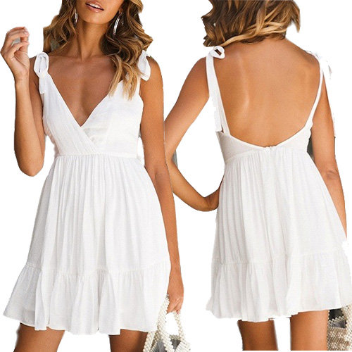 White Plunge Ruffle Hem Open Back Cami Mini Dress