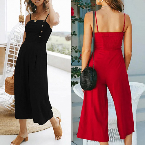 Black Red Cotton Spaghetti Strap Chic Women Romper Jumpsuit