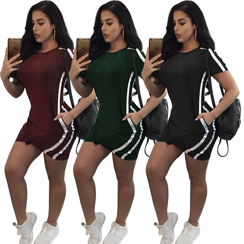 Red Green Grey Women Sport Short Sleeve Mini Dress