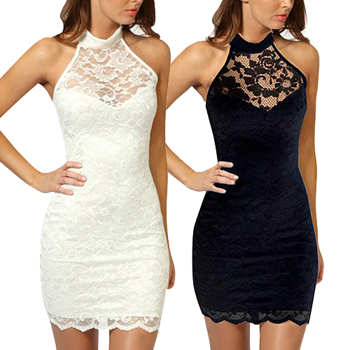 Sexy Women Lace Sleeveless Bodycon Mini Dress