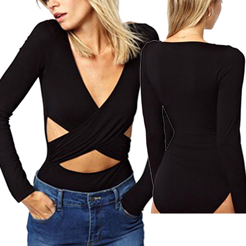 Sexy Women Wrap Black Long Sleeve Romper