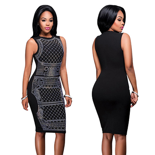 Sexy Women Black Sleeveless Midi Bodycon Dress