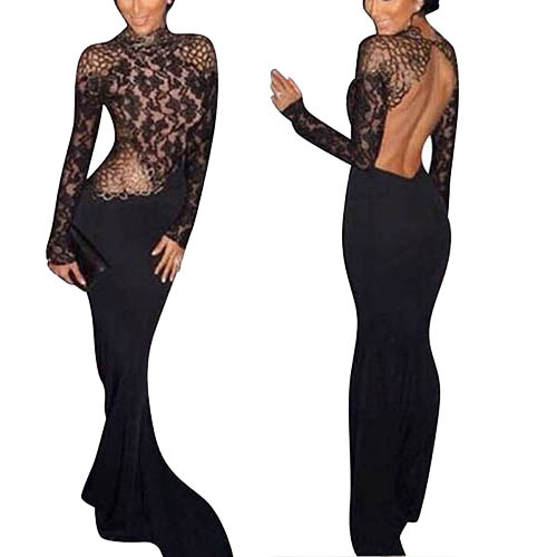 Women Long Sleeve Backless Evening Dress