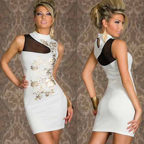 Women Sleeveless White Golden Flower Mini Dress