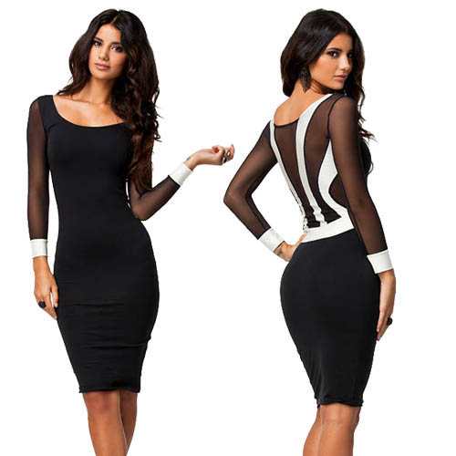Women Short Sleeve Black Midi Bodycon Dress
